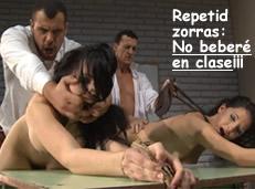 Colegialas rebeldes reciben disciplina en el aula