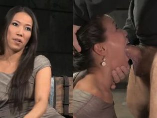 Destrozando la boca de esta sumisa atada y abusando de su coño
