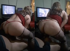 Esposa saca leche dando sentones sobre su marido