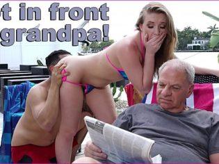 ¡No en frente de mi abuelo! La perrita es una exhibicionista